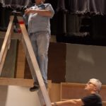 Gary, our Lighting Designer, with help.